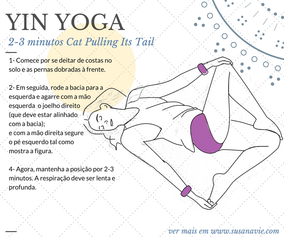 yin yoga, pose, yoga, cat pulling its tail, susana vie, sketch, asana, excercise